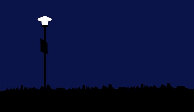 rozsvícená lampa
