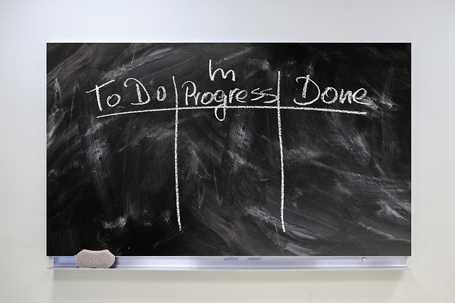 pracovní proces na tabuli
